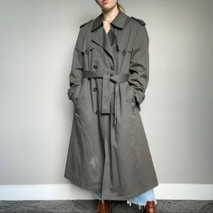 Vintage Christian Dior Oversized Gray Long Winter Trench Coat Jacket Size XL